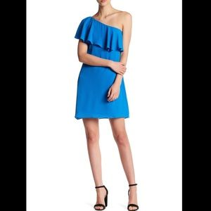 NWT MAGGY LONDON ONE SHOULDER RUFFLE DRESS